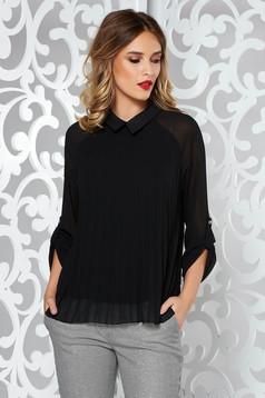 Bluza dama SunShine neagra eleganta plisata cu croi larg din material vaporos si transparent captusita pe interior