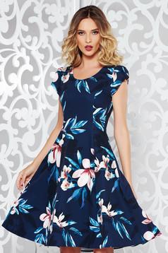 Rochie albastra-inchis eleganta in clos din stofa subtire usor elastica cu imprimeuri florale