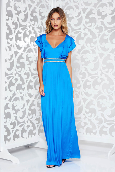Rochie albastra de ocazie din material satinat cu aplicatii stralucitoare captusita pe interior