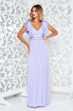 Rochie lila de ocazie din material satinat cu aplicatii stralucitoare captusita pe interior