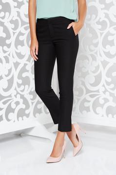 Pantaloni negri office conici cu talie medie din stofa usor elastica cu buzunare