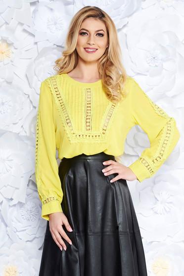 Bluza dama galbena casual cu croi larg din voal cu aplicatii de dantela