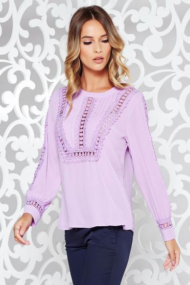 Bluza dama lila casual cu croi larg din voal cu aplicatii de dantela