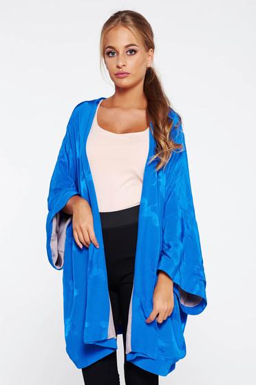 Cardigan albastru casual lunga cu croi larg din material satinat