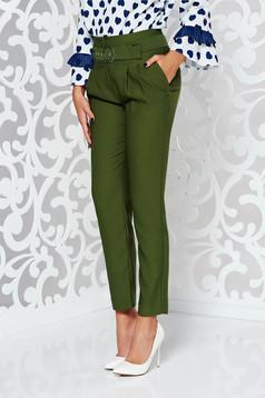 Pantaloni verde inchis eleganti cu talie inalta din material neelastic cu accesoriu tip curea
