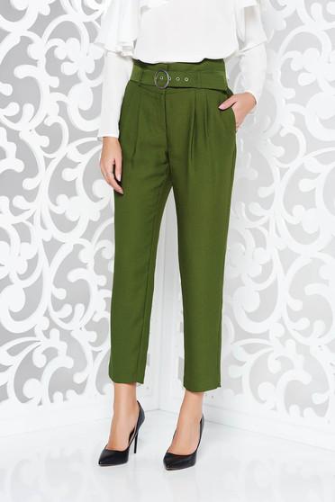 Pantaloni verde inchis office cu talie inalta din material neelastic cu accesoriu tip curea