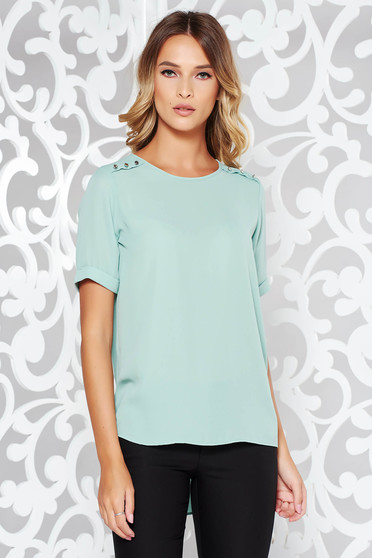 Bluza dama mint eleganta asimetrica cu croi larg din voal accesorizata cu nasturi