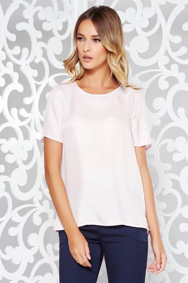 Bluza dama roz deschis casual asimetrica cu croi larg material fin la atingere