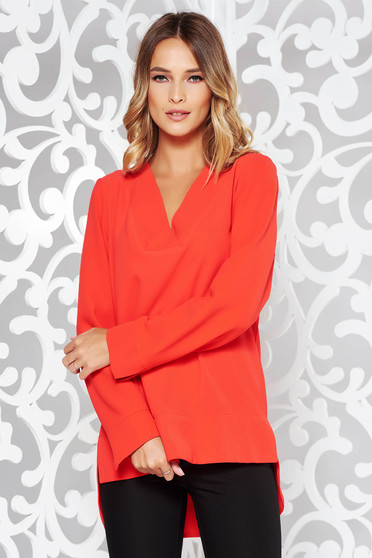 Bluza dama rosie eleganta asimetrica cu croi larg din material neelastic cu decolteu in v