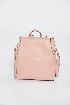 Rucsac rosa casual din piele naturala cu manere reglabile