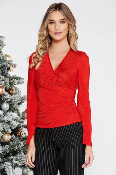 Bluza dama rosie eleganta cu un croi mulat petrecuta din material elastic cu decolteu adanc