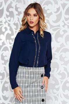 Bluza dama StarShinerS albastra-inchis eleganta cu croi larg din voal cu aplicatii metalice