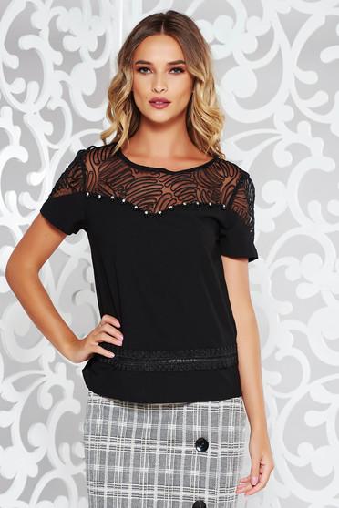 Bluza dama StarShinerS neagra de ocazie cu croi larg din material neelastic accesorizata cu pietre stras