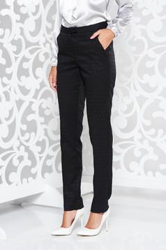 Pantaloni StarShinerS negri office cu talie medie cu un croi drept din stofa usor elastica