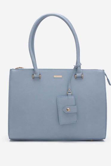 Geanta dama albastra-deschis office din piele ecologica cu doua manere de lungime medie