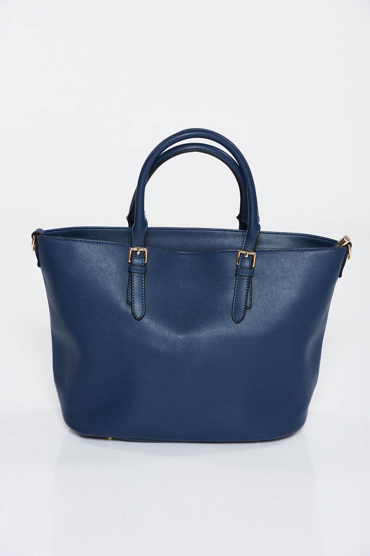 Geanta dama albastra-inchis office din piele ecologica cu manere de lungime medie