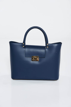 Geanta dama albastra-inchis office din piele naturala cu accesoriu metalic
