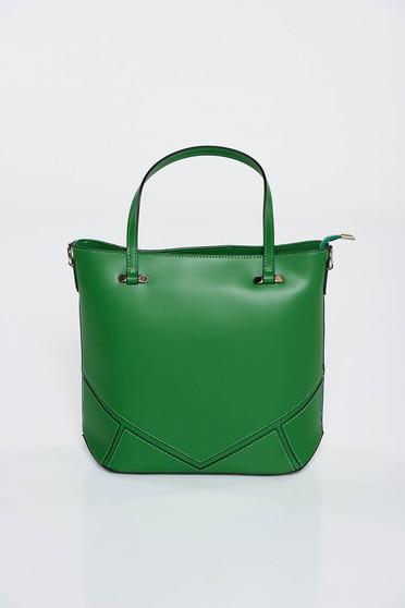 Geanta dama verde office din piele naturala cu manere scurte