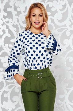Bluza dama albastra cu maneca 3/4 cu croi larg din material usor elastic cu volanase la maneca