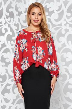Bluza dama rosie StarShinerS eleganta cu croi larg din voal cu imprimeu floral
