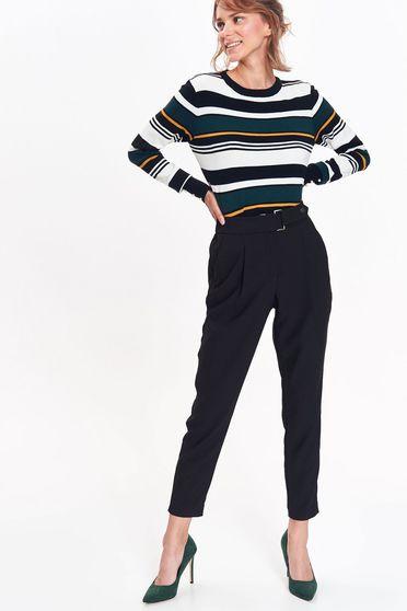 Pantaloni Top Secret negri office conici cu talie inalta din material neelastic cu buzunare accesorizati cu cordon