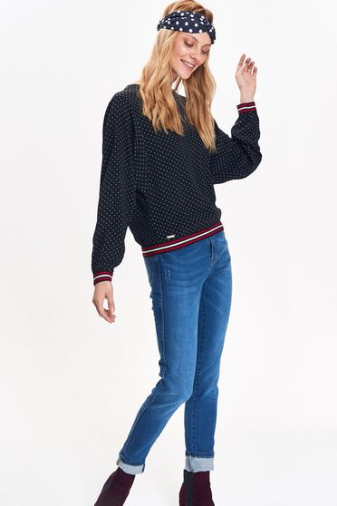 Bluza dama Top Secret albastra-inchis casual cu croi larg din material moale cu buline