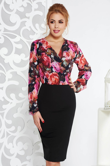Rochie StarShinerS neagra office tip creion din material usor elastic cu decolteu in V si imprimeuri florale