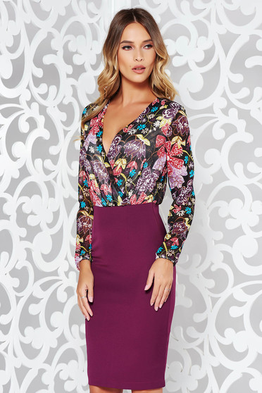 Rochie StarShinerS mov office tip creion din material usor elastic cu decolteu in V si imprimeuri florale