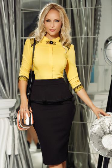 Camasa dama Fofy galbena office cu un croi mulat din bumbac usor elastic cu aplicatii de dantela