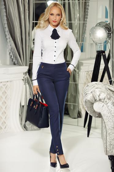 Pantaloni Fofy albastri-inchis office conici din material usor elastic cu talie inalta si buzunare