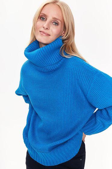 Pulover Top Secret albastru casual pe gat din material gros tricotat cu croi larg