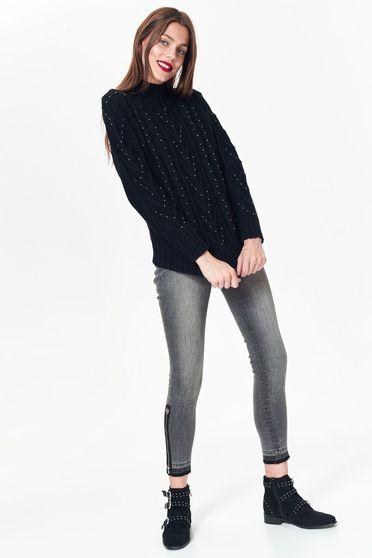 Pulover Top Secret negru casual cu croi larg din material tricotat cu aplicatii stralucitoare
