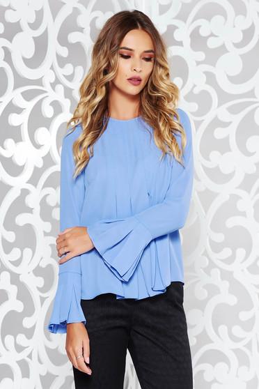 Bluza dama StarShinerS lila eleganta cu croi larg din voal cu volanase la maneca
