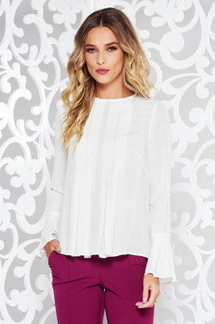 Bluza dama StarShinerS alba eleganta cu croi larg din voal