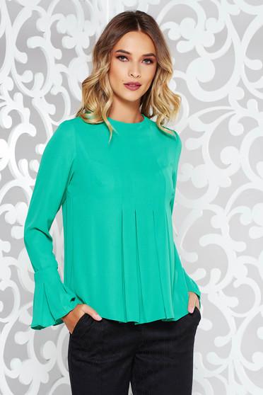 Bluza dama StarShinerS verde eleganta cu maneca lunga cu croi larg din voal cu volanase la maneca