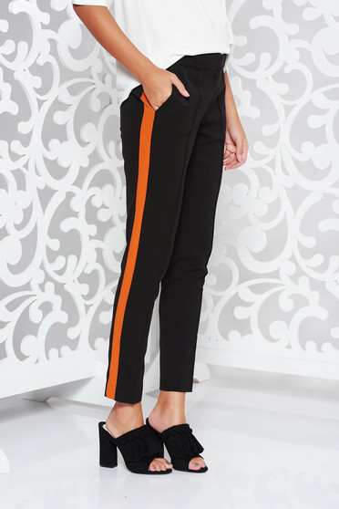 Pantaloni StarShinerS negri office conici cu talie medie din stofa usor elastica
