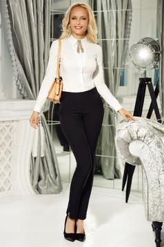Pantaloni Fofy negri office conici din bumbac usor elastic cu talie medie accesorizati cu nasturi