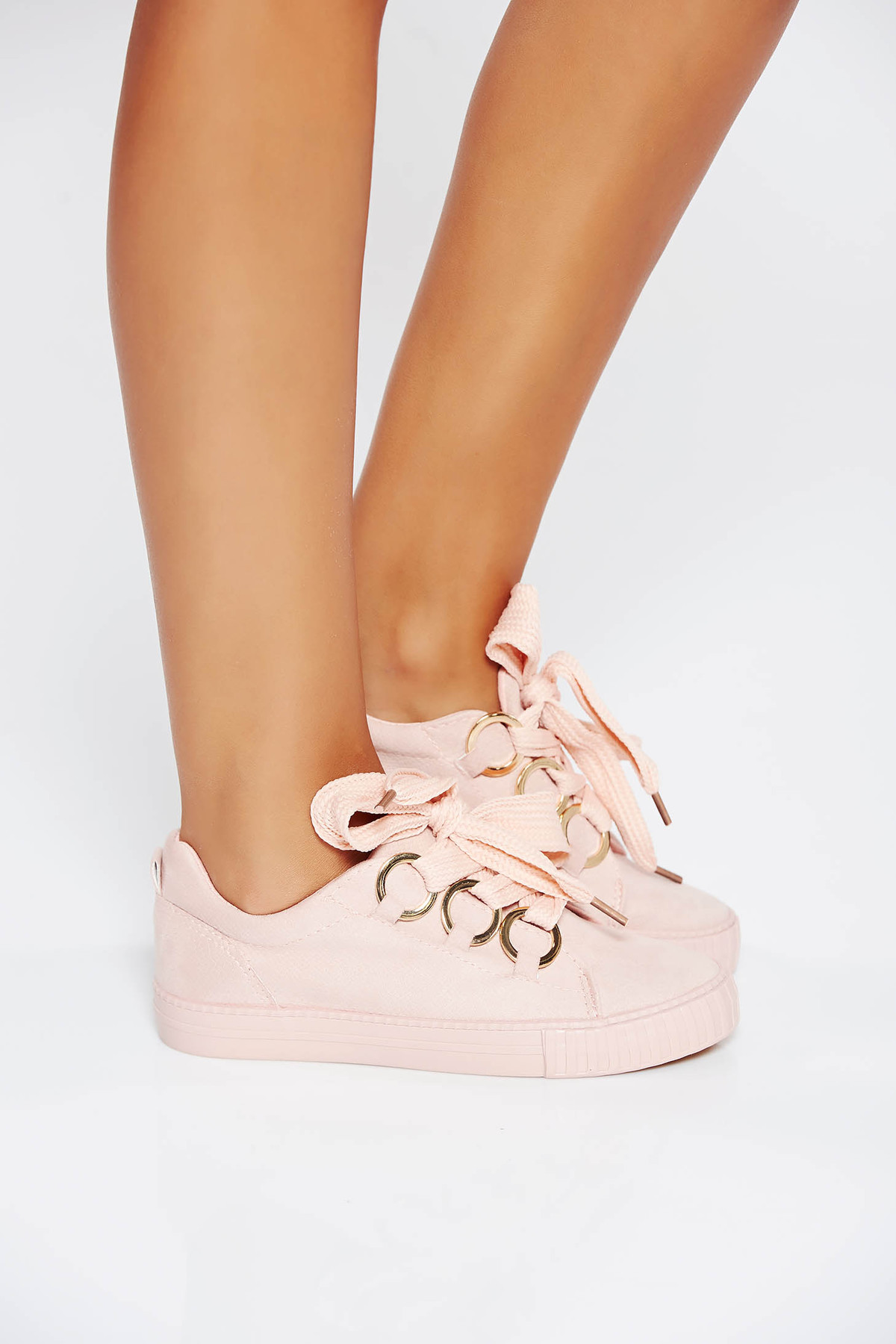 Pantofi sport roz casual din piele ecologica cu talpa usoara si cu accesorii metalice