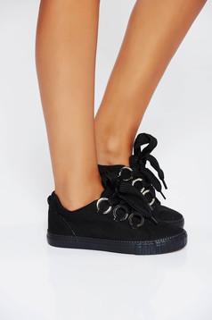 Pantofi sport negri casual din piele ecologica cu talpa usoara si cu accesorii metalice