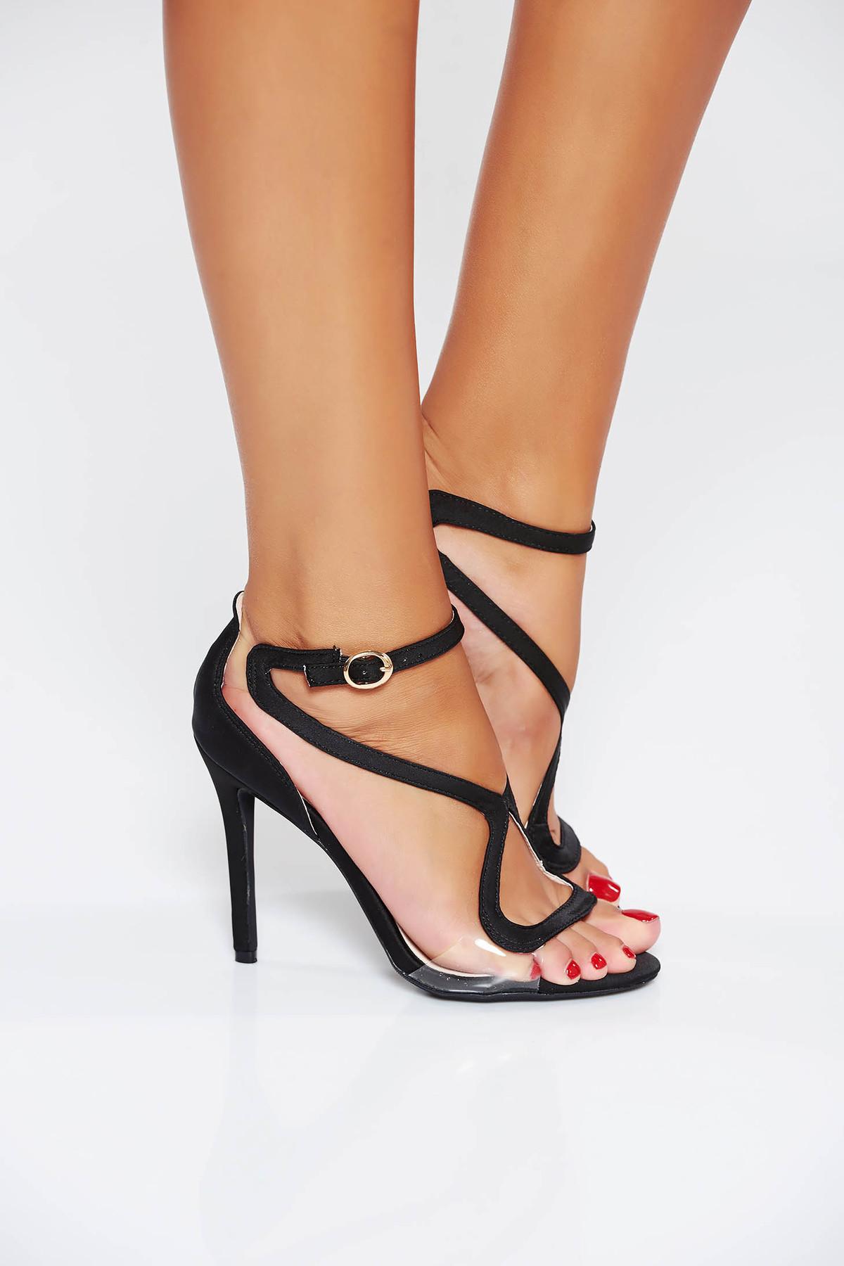 Sandale negre de ocazie cu barete subtiri din piele ecologica