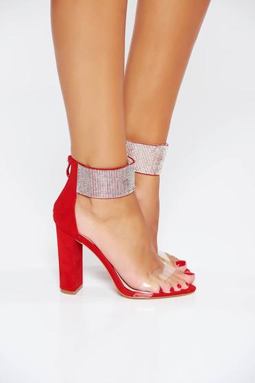 Sandale rosii de ocazie cu aplicatii stralucitoare din piele ecologica