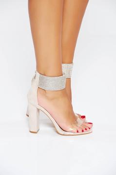 Sandale crem de ocazie cu aplicatii stralucitoare din piele ecologica