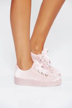 Pantofi sport rosa casual din piele ecologica cu siret si talpa usoara