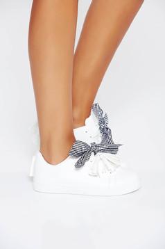 Pantofi sport albi casual din piele ecologica cu siret si talpa joasa