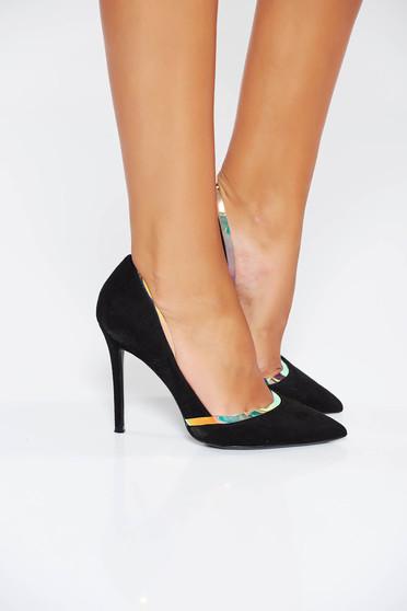 Pantofi negru elegant din piele ecologica cu accesoriu metalic