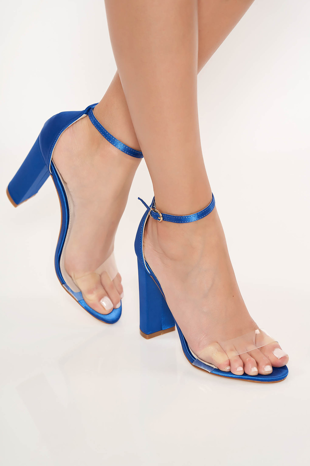 Sandale albastre elegante din piele ecologica cu barete subtiri si toc gros