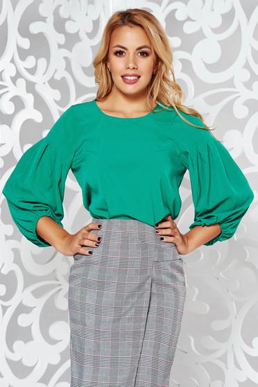 Bluza dama verde cu maneca lunga cu croi larg din material neelastic
