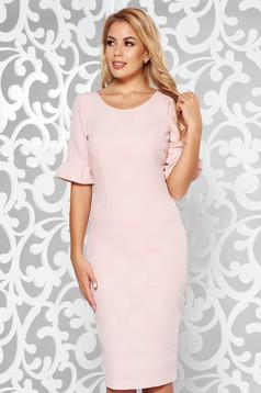 Rochie rosa eleganta midi tip creion din material usor elastic cu maneci scurte