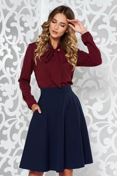 Bluza dama StarShinerS visinie eleganta cu croi larg din voal cu guler tip esarfa