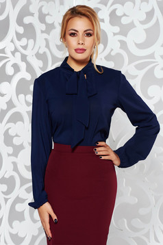 Bluza dama StarShinerS albastra-inchis eleganta cu croi larg din voal cu guler tip esarfa